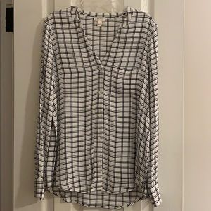 Joie black and white window pane blouse